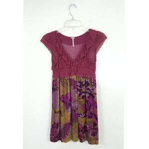 Free People Sz S Velvet Sheer Dress